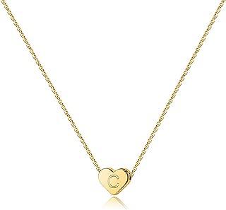 Turandoss Heart Initial Necklaces for Women - 14K Gold Filled Heart Pendant Letter Alphabet Necklace, Personalized Tiny Initial Necklaces for Women Kids Child, Heart Monogram Necklace Gift for Girls