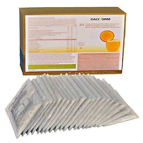 CALYFORM Batidos Proteínas para dieta sabor Naranja y Piña   Bebida proteica en polvo saciante Proteína dietética de calidad y aporte en aminoácidos esenciales (20 Sobres)