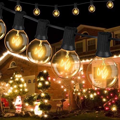 Lichterkette Außen Lichterkette Glühbirnen G40-6.8m 16er Birnen Lichterkette Garten IP44 Wasserdichte für Weihnachten Hochzeit Party Aussen...