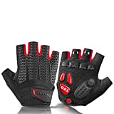 Cycling Gloves Bike Shockproof Foam Padded Half Finger Short Glove Anti Slip Breathable MTB Rode Bicycle Mens,S169RD,XL