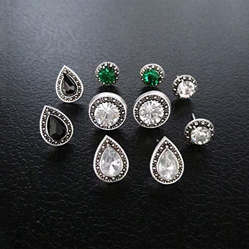 10 Pcs/set Mode Féminine Bohème Vintage Cristal Géométrique Rond Boucles D'oreilles Ensemble Accessoires De Mariage Cadeau Saint Valentin