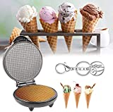 Electric Waffle Cone Maker, Ice Cream Cone Machine,Round Egg Rolls Nonstick Electric Dessert Baking Pan,Kitchen Cooking Gift