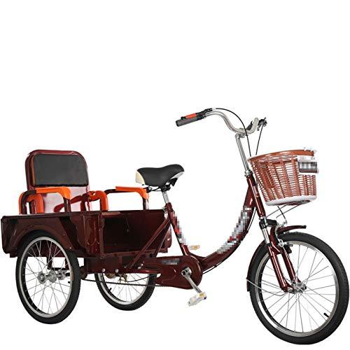 TWW Triciclos para Personas Mayores, Bicicletas Pequeñas De Pedal, Bicicletas para Adultos, Scooters Eléctricos Plegables, Ocio para Personas De Mediana Edad Y Ancianos, Scooters,Marrón