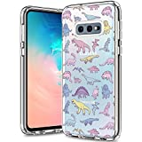 BICOL Galaxy S10e Case, Dinosaurs Pattern Clear Design for Girls Women Transparent Plastic Hard Back Cover with Soft TPU Bumper Protective Phone Case for Samsung Galaxy S10e -130