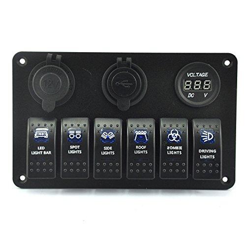 ASUMAN Generic Marine/Bateau de Voiture 6 Gang commutateur Panel 12 V/24 V Double Prise USB Chargeur LED Bleue 5 Broches on/Off Interrupteur à Bascule