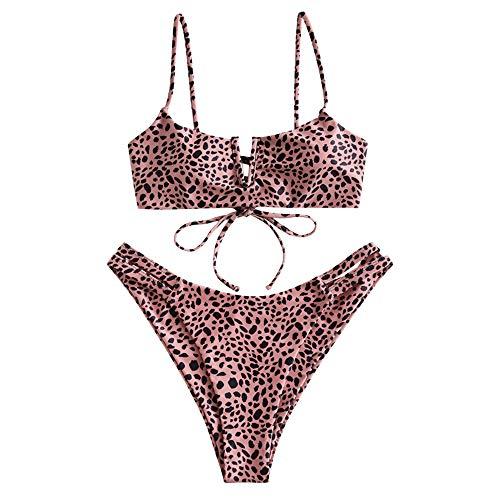 ZAFUL Damen V-Wired Leopard Hihg Cut Bikini Set Badeanzug Multi-C M