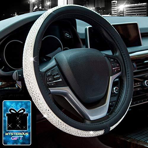 Didida Bling Steering Wheel Cover for Women Girl Diamond Crystal Rhinestones Wheel Cover Universal 15 Inch (White)