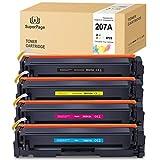 [Sin Chip] 4 Superpage Reemplazar para HP 207A W2210A W2211A W2212A W2213A Multipack Cartuchos de tóner para HP Color Laserjet Pro M255dw MFP M282nw M283cdw M283fdw(Negro/Cian/Magenta/Amarillo)