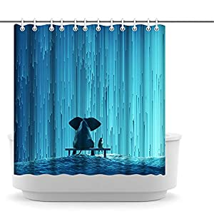 Artsbay Animal Elephant Shower Curtain for Bathroom Elephant and Dog Watching Waterfall Teal Blue Bath Curtain Waterproof Polyester Bathroom Decor Durable Shower Curtain 72''x72''