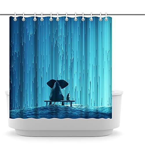Artsbay Animal Elephant Shower Curtain for Bathroom Elephant and Dog Watching Waterfall Teal Blue Bath Curtain Waterproof Polyester Bathroom Decor Durable Shower Curtain 72''x72''