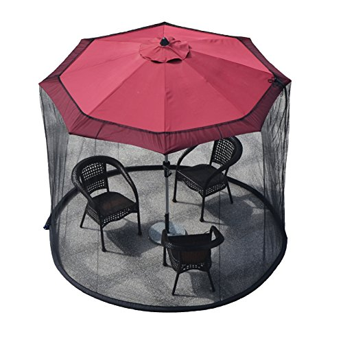 YAMEI Outdoor Garden Patio Umbrella Table Screen Mosquito Net 9de Foot  Canopy Curtain   Fixed by Water Pipe   Fits Over 7'Or 9' Umbrella