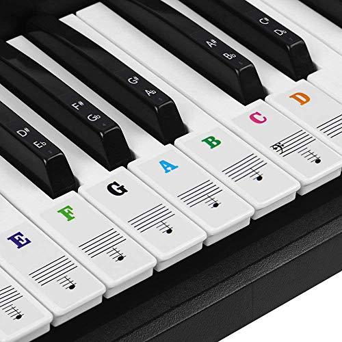 Pegatinas para pianos o teclados,Pegatinas para teclados,Etiqueta engomada del teclado de piano,Pegatina Teclado Electrónico para 37/49/54/61/88 Teclas.