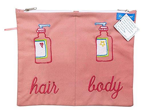 Trousse de Toilette Hair & Body Rangement Shampoing Gel Douche Rose 28 x 23 cm Broderie Résistant à l'Eau Doublé Revêtement Coton Commerce équitable Ringelsuse