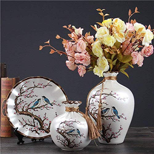 Vaas decoratie 3pcs / set Chinese Retro Ceramic Vase Vintage Vaas Fijn glad oppervlak Home Decoration, White C, White C (Color : White B)