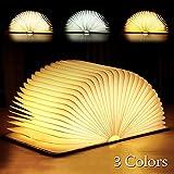 Tronisky LED Buchlampe Faltbare in Buch Form mit 3 Lichtfarben, Hölzerne Buch Lampe Kreative Nachtlicht LED Stimmungsbeleuchtung Dekorative Tischlampe USB Aufladbare, 880mAh