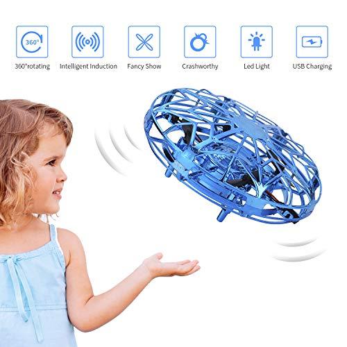 FORMIZON Mini Drône UFO pour Enfants, Mini Quadcopter Drone à Commande Manuelle Hélicoptères Débutant Tournant à 360 ° en Rotation, Cadeau Jouets Volants pour Adolescents (Bleu)