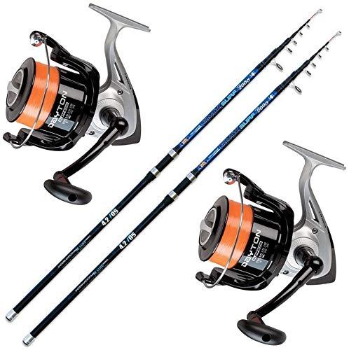 Kit de pêche avec 2cannes Surfcasting Long Cast +...