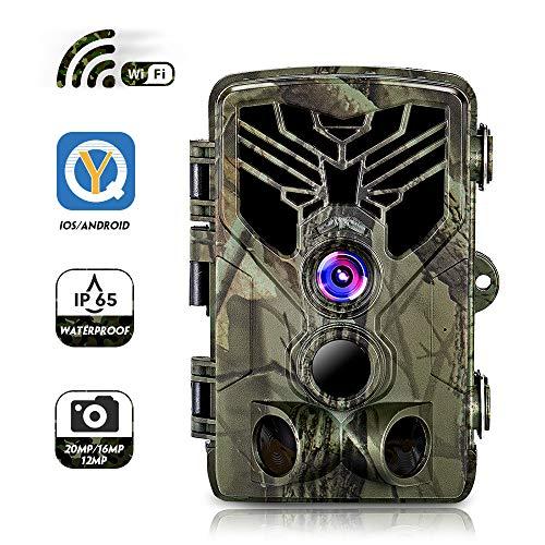 SUNTEKCAM Wildkamera mit WLAN WiFi, APP Jagdkamera Fotofalle 20MP 1080P mit Bewegungsmelder Nachtsicht, Infrarote Nachtsicht 65ft/20m, IP65 Wasserdicht Überwachungskamera, 2,4-Zoll-Bildschirm