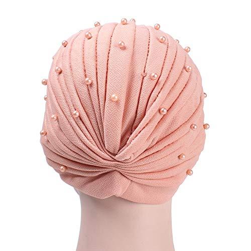 happygirr - Gorra con Perlas Simples, Turbante, Pliegues Suaves, Bufanda, caída del Pelo, para Mujer y niña