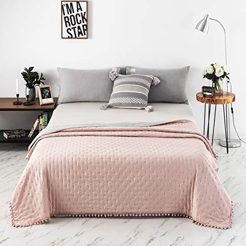 MOHAP Bettdecke Sommerdecke 220x240cm,Bezug aus 50% Baumwolle Weiche-Atmungsaktiv-Steppdecke für den Sommer