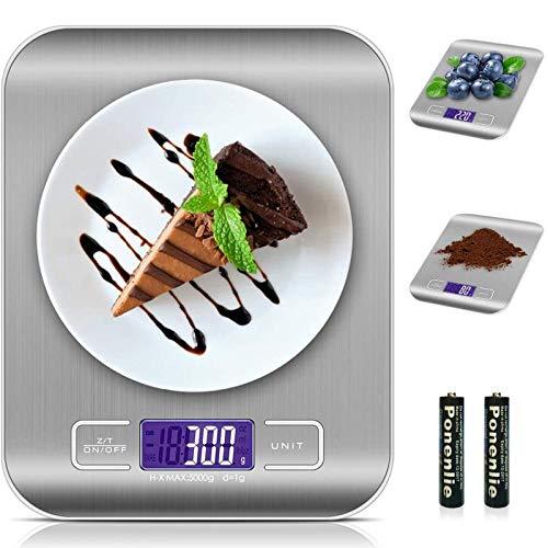 solawill Digitale Küchenwaage Elektronische Waage 5kg mit LCD Display, Professionelle Digitalwaage aus Edelstahl, Flüssigkeitsmessung, Hohe Präzision auf bis zu 1g, Haushaltswaage mit Tara-Funktion