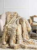Best Home Fashion Kitt Fox Faux Fur Lounge Throw Blanket - 58