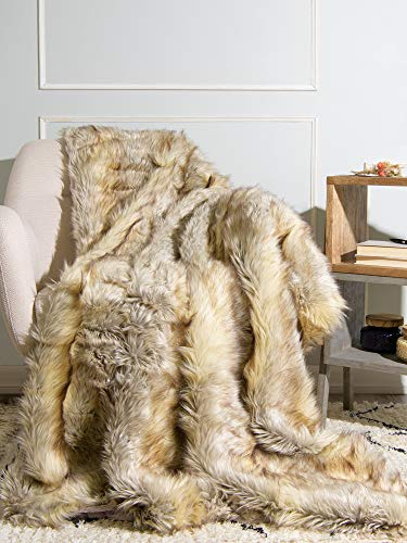 Best Home Fashion Kitt Fox Faux Fur Lounge Throw Blanket - 58