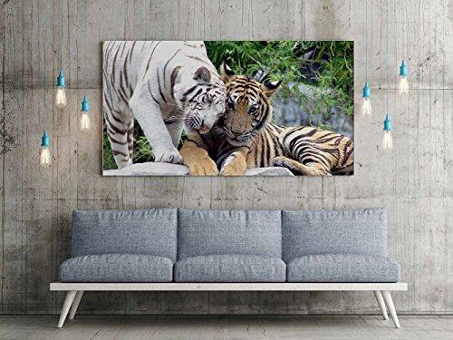 Cuadro PVC Impresión Digital Tigre Blanco y Amarillo Multicolor 115 x