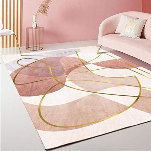Alfombra estampada con hilo dorado abstracto moderno Sala de estar Área del sofá Alfombra antideslizante Dormitorio Balcón Alfombra de poliéster resistente al desgaste 60 * 90Cm
