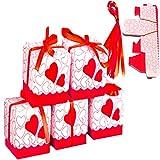 [S.fields.inc] プレゼントBOX ギフトボックス 小 リボン付き 50枚セット クリスマス 結婚式 2次会お返し バレンタイン (レッド)
