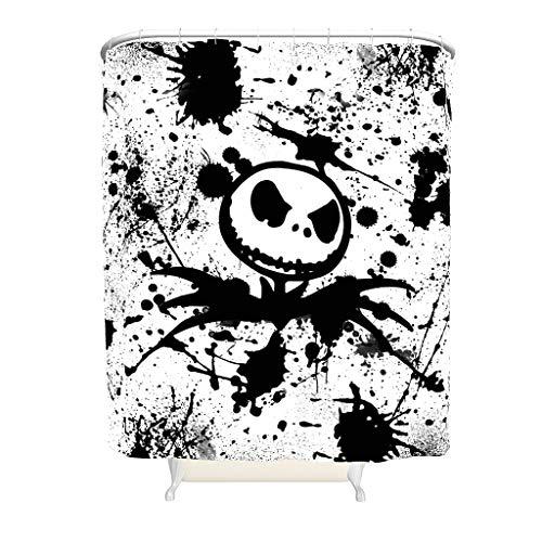 Ink Jack Nightmare Before Christmas - Cortina de ducha antimoho, antibacteriana, tela 100% poliéster, lavable, duradera, de secado rápido, con 12 cortinas blancas de 150 x 200 cm