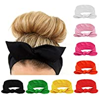 Habibee Women Headbands Turban Headwraps Hair Band Bows Accessories for Fashion Or Sport (Solid Color 8pcs)