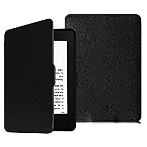 Fintie SlimShell Funda para Kindle Paperwhite - La Más Delgada y Ligera Carcasa de Cuero Sintético con Función de Auto-Reposo/Activación (No se Adapta a 10.ª generación 2018), Negro