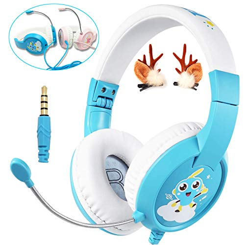 SVYHUOK Kids Headphones with Microphone Wired Gaming Headset for PS4 Xbox ONE PC, Safe Volume Limited 85db Over Ear Headband, Foldable Earphones Gift for Children Toddlers Boys Girls …
