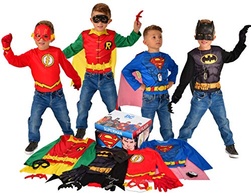 Imagine by Rubie's DC Comics Children's Dress up Trunk with Superman, The Flash, Batman and Robin