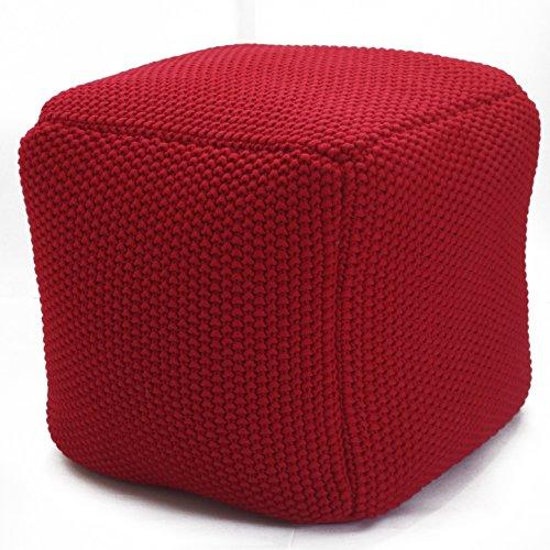 VIVREI Sitzsack Design quadratisch Füllung aus Bio Natur Füllstoff Dinkel-Schalen Bezug Strick Baumwolle Sitzkissen (rot)