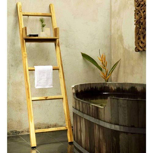 Kammika Import Export Co., Ltd. Haussmann Teak Towel Ladder 18 x 64 in H with Adjustable Shelf Teak Oil