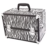 SM-2083 Aluminum Alloy Makeup Train Case Jewelry Box Organizer White Zebra Stripe, Portable Storage Bag for Cosmetic Brush Toiletries Travel Accessories