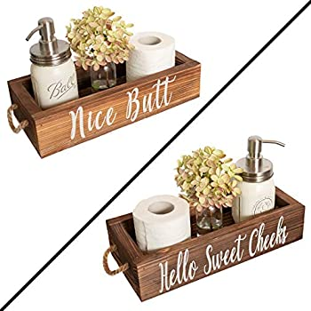 Nice Butt Bathroom Decor Box 2 Sides - Funny Gift Funny Toilet Paper Holder Perfect for Farmhouse Bathroom Decor Toilet Paper Storage Rustic Bathroom Decor or Diaper Organizer  Brown