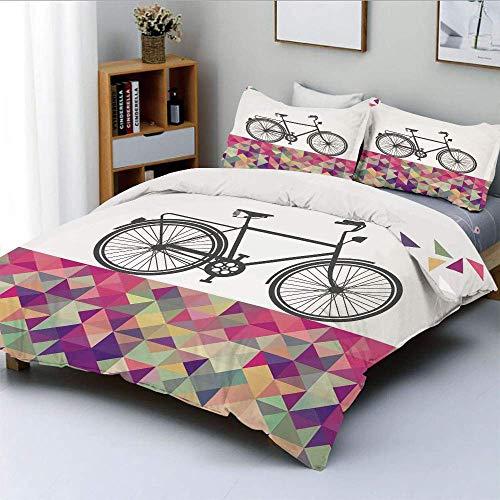 Juego de Funda nórdica, Bicicleta de Estilo Vintage sobre Fondo Multicolor con Forma de Diamante Triángulos Hipster Juego de Cama Decorativo de 3 Piezas con 2 Fundas de Almohada, Multicolor, e