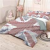 Modern Bed Sheets Set Queen, Microfiber Sheet Set 3 Piece Bed Sheets Union Jack Pixel Art Design Super Soft - Queen 90'x90'