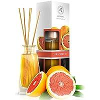 Difusor de Aroma Pomelo 100ml con 8 Palitos de Bambú - 0% Alcohol - 100% Puro Aceite Pomelo para Cuartos - Hogares - Oficinas - Restaurantes - Aromaterapia