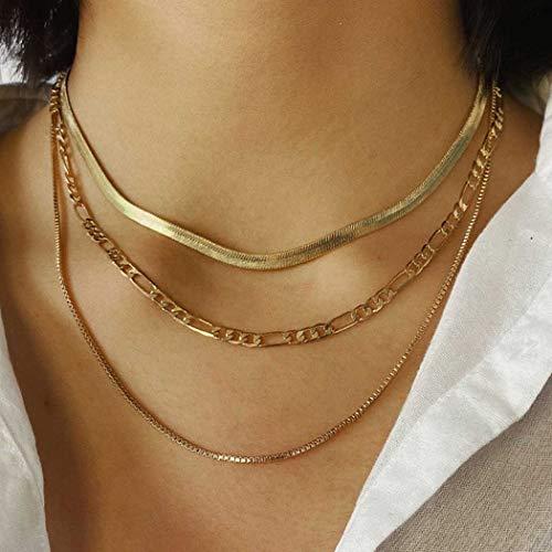 Fashband Gargantilla bohemia, collar de hueso de serpiente, collar dorado punk, cadena de eslabones de clavícula, joyería para el cuello, regalo para mujeres y niñas