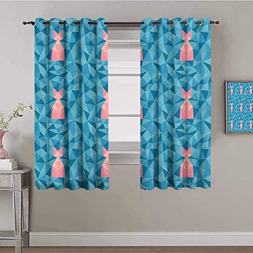 LucaSng Cortinas de Opacas - Azul Moda triángulo Creatividad. - 234x230 cm - para Sala Cuarto Comedor Salon Cocina Habitación - 3D Impresión Digital con Ojales Aislamiento Térmico Cortinas