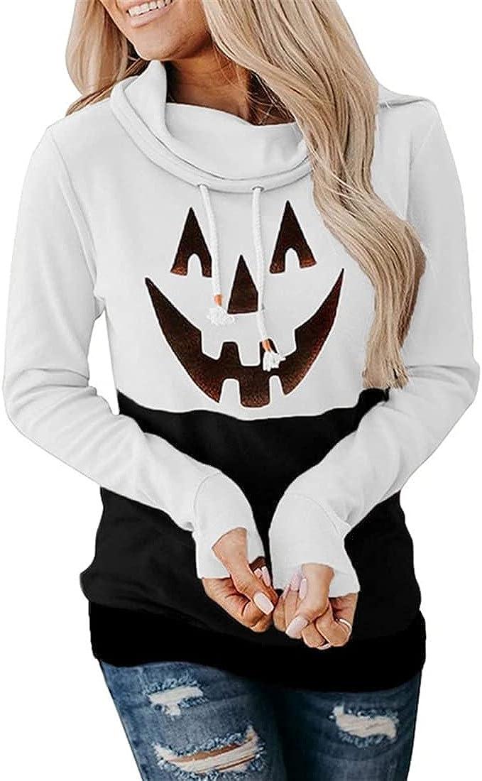 FRMUIC Women's Turtleneck Lace Sweatshirt Halloween Scary Face Print Long Sleeve Sweatshirt Loose Fashion Top