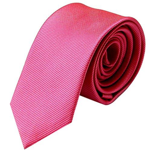 GASSANI Krawatte 6cm schmal   Pink Rosa Rips Herrenkrawatte zum Sakko   Slim Schlips Binder einfarbig mit feinen Streifen