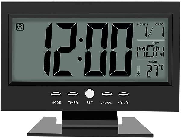 Yosoo Multifunction Sound Control Large LCD Screen Digital Clock Table Desk Alarm Clock Sound Sensor Time Calendar Week Temperature Display Snooze Black
