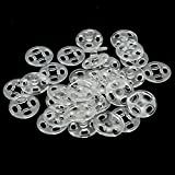 RAYNAG 90 Set Plastic Snap Fasteners Buttons Invisible Sewing On Snap Buttons Kit, 10mm Fasteners for Bibs Diapers Crafts Shirts Clothing, Clear