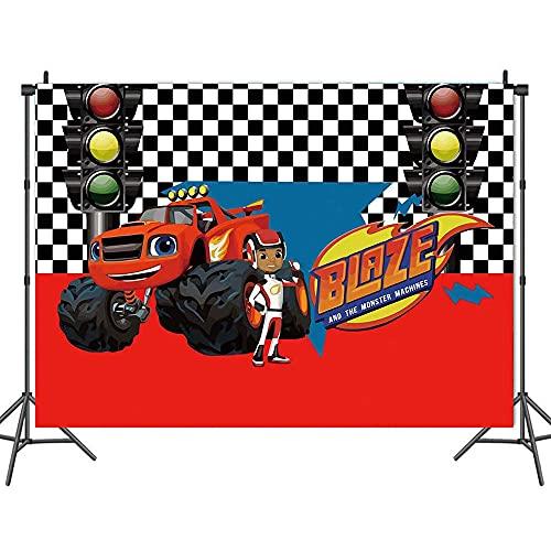 Blaze and The Monster Machine - Telón de fondo para decoración de cumpleaños (2020692blaze, 2,4 x 1,8 m)