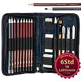SCHNAUD Zeichenset mit 7 Bleistiften und 2 Kohlestiften - Enthält